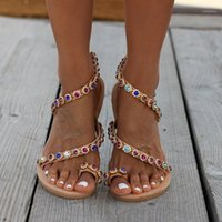 Frauen Sandalen Damen Mode Flacher Slip auf Kristall Lässige Böhmenschuhe Sandalen Sommer Weibliche Weiche Strandschuhe Plus Größe C40 # 1