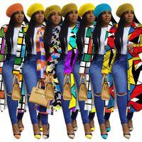 Женская траншея Грид Сетка Стандартный Проверка Печать Двухбордовые Отвороты Длинные Пальто Дизайнерские Мода Для Женщин S-5XL