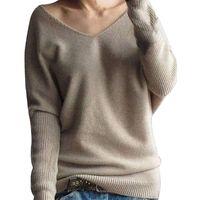 2020 Мягкая кашемира Упругие Свитера Женщины Осень Зима Продан V шеи свитер дамы Корейский Марка Трикотажное Jumper Tops