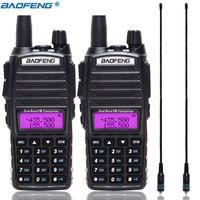 2pcs / set BAOFENG UV82 portátil Walkie Talkie UV82 Dual Band 2 PUV 82 em dois sentidos Ham CB Radio Transceiver + 2pcs antena NA-771