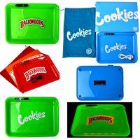 Cookies Runzy Backwoods Rauchzubehör Rolling Fach Wiederaufladbare Glühbecher Aschenbecher für trockenes Kraut mit Geschenkpaket-Box LED03