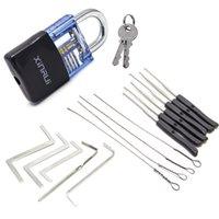 Prática bloqueio set conjunto de tensão de locksmith chave de tensão quebrada ferramenta de extrator de máquina combinação transparente cadeado frava ferramentas bloquear picks