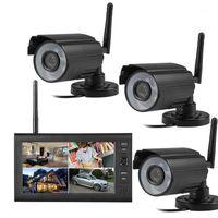 Systeme 2.4GHz Wireless IR CCTV-Überwachungskamera 4CH DVR 7'LCD-Monitor 380TVL-CMOS-Analogsystem KIT1