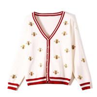 Nicemix Sweater de las mujeres bordado otoño nueva mujer de manga larga de manga larga abeja contraste de la abeja rayas de colores de punto de punto fino de punto fino Y200720