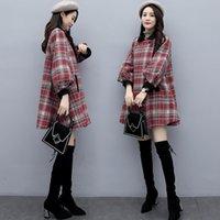 2021 Nuevo traje de mujer de mediana edad otoño e invierno estilo coreano ropa acolchada de algodón abrigo de lana a cuadros TUQR