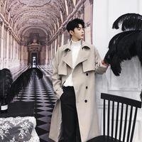 Männer Trenchcoats Männer Vintage Zweireiher Mode Business Gelegenheitslauf Langer Mantel Männliche Frauen Lose Cardigan Jacke Herbstfeder Oberbekleidung1