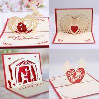 3D Valentines Tag Gruß-Karte Pop-up-Karte Valentinstag-Geschenke-Geständnis-Gruß-Karte 15 * 10 cm Hochzeitszubehör XD24431