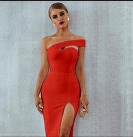 Casual Dresses Kleid Sommer Frauen Sexy Schulterfrei Split BH Slim Bodycon Schwarz Verband Midi Damen Büro Luxus 20211