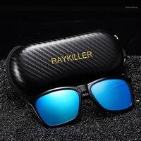Nuevas gafas de sol polarizadas de Raykiller Square para hombres Partido Gafas de pesca con espejo UV400 Conducción al aire libre con caso1