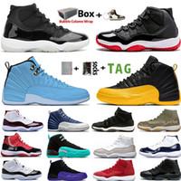 2021 con Box Jumpman 11 11s 25 aniversario Concord Concord Bred Shoes de baloncesto 12 12s University Gold UNC Piedra Blue Women Trainer Sneaker