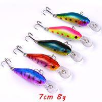 1 шт. 10 цветных смешанных 7 см 8G кривошип, жесткие приманки приманки 6 # крючка для рыбалки крючки рыбалки рыбалки рыболовные рыболовные аксессуары LL-224