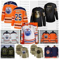 2021 Retro Retrô Personalizar # 25 Darnell Enfermeira Edmonton Oilers Hóquei Jerseys Golden Edition Camo Veterans Day Lutas Câncer Camisas