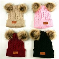 Kids Chidlren Winter Twist Knit Beanie Hat Cute Solid Wool Knitting Tuque Hats Skull Cap with Two Double Pom Fur Ball Crochet Hats E101003