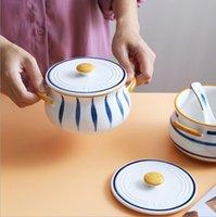 Ручная роспись двойной ушной чаши голландские печи керамический завтрак с крышкой творческий и простым бытовым супом чаша птица гнездо тушеная чашка