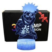 Naruto 7 Farben wechseln Tischprojektionslampe USB-Cartoon Uzumaki Naruto Sasu Kekakash LED-LED-Action-Figur Leuchtende Spielzeug Y200421