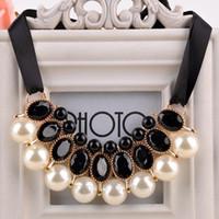 Femmes cou Porter Chaînes perles imitation Choker Collier ruban de perles strass chaîne Déclaration Colliers Pendentifs bijoux # 137