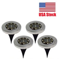 USA Stock LED Solar Buried Floor Light Waterproof Stainless Steel Underground Lights Outdoor Garden Road Path Stairs Ground Lawn Lamp