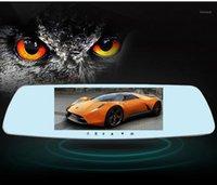 سيارة DVR DVR DVRS HD شاشة تعمل باللمس 5 بوصة مرآة الرؤية الخلفية القيادة مسجل عدسة مزدوجة مع عكس صورة عالية الوضوح عالية الوضوح