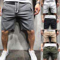 2020 neue Art-Art und Weise der heißen Männer beiläufige kurze Solide Baumwolle Fitness String mit Tasche lose tragen Shorts