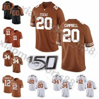 NCAA College Football Texas Longhorns 20 Earl Campbell Jersey 34 Ricky Williams 10 Vince Young 12 Earl Thomas 11 Derrick Johnson Size S-3XL