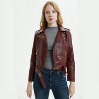 여성용 가죽 가짜 Zxryxgs 여성 패션 PU 자켓 2021 가을 겨울 여성 벨트와 오토바이 자켓