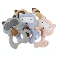 Fkisbox BPA 12pc Raccoon Silicone Colar Teether Pendant Baby Teething Cadeia chupeta Food Grade Enfermagem Toy Acessório 201017