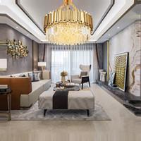 الحديث الكريستال الثريا الإضاءة لغرفة المعيشة الفاخرة الذهب جولة chandeliers110v-220 فولت أضواء شنقا