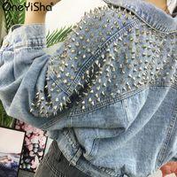 New Rivet Women's Denim Jacket Spring Autumn Cowboy Outerwear Tops Loose Streetwear Lady Short Jeans Coat 201013