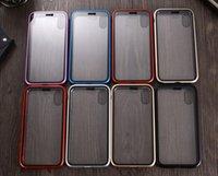 아이폰 11 12 프로 엑스에 대 한 자기 흡착 금속 전화 케이스 최대 x 전체 범위 알루미늄 합금 프레임 강화 유리