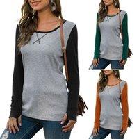 Femmes Automne Mode Tout match Casual Col rond manches longues couleur Brochage Slim Fit T-shirt