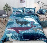 Ocean Duvet Cover Set Blu Whale Biancheria da letto Set Sea Animale Biancheria da letto Letti a strisce Bambini Adolescenti Casa Tessile Tessile Microfibra Bedclothes1