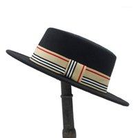 النساء الرجال الصوف شقة هومبورغ فيدورا قبعة سيدة شادة الشتاء autum الجاز boater بنما أعلى قبعات جيدة حزمة حجم 56-58CM1