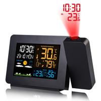 المنبه أدى الجدار سقف الإسقاط LCD الرقمية التقويم عرض درجة الحرارة الطقس الإلكترونية على مدار الساعة راديو الموقت الخلفية