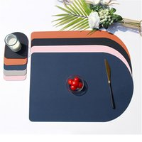 Placemat Washable Set Dual Side Tableware Pad Placemat Leather Heat Lnsulation Waterproof Non-slip Bowl Coaster sqckBn