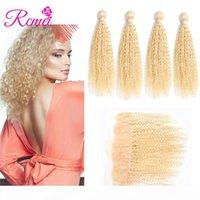 Rcmei малазийский 613 Blonde кудрявый Cruly волос 4 Пучки 100% человеческих волос Kinky завитые выдвижения волос с Pre-щипковых 13 * 4 кружева Лобовой