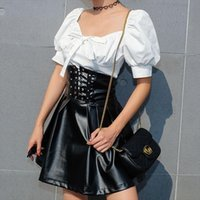 Faux Latex PU Lederrock Frauen Reißverschluss Schwarz Hohe Taille Falten Röcke Damen Lace Up A Line Sexy Mini Weiblich