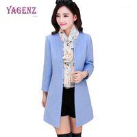 Lana de las mujeres combinaciones de invierno para mujer Larga lana chaqueta 2021 moda abrigo caliente de alta calidad Color puro delgado Cuello redondo grueso abrigo B901