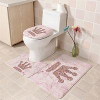 3PCS 유럽 패턴 부드러운 욕실 목욕 매트 바닥 깔개 카펫 워터 흡수 깔개 화장실 매트 미끄럼 방지 물고기 규모 목욕 매트 세트 201211