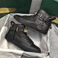 2019 Yeni erkek Moda Kilitleri Ayakkabı Flats Hakiki Deri Arena Spor Sneakers Lüks Yüksek Üst Tasarımcı Rahat Snekers Boyutu 38-46