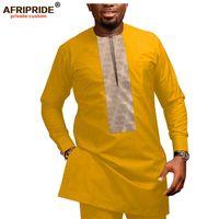 Африканская мужская одежда повседневная спортивная спортивная мусорная косточковая спортивная гусеница + брюки Ankara 2 шт. Комплект плюс Размер трексуита Afripride A1916026 20111