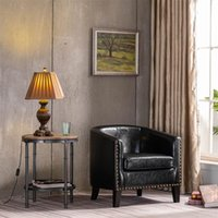 (73x64x70cm) 원형 의자 구리 네일 PU 검은 색과 내구성이있는 현대적인 미니멀리스트 단일 소파가 거실에 적합합니다.