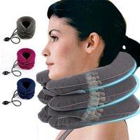 3 strati gonfiabili cervicale cuscino alleviare il collo capo barella Dolore completa Velvet Neck Support Collo Health Care strumento per massaggi