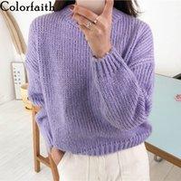 ColorFaith Новая осень зима женские свитера повседневные минималистские модный корейский стиль вязаный свитер розовый фиолетовый SW5073 201128