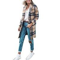 Miscele di lana Miscele Donne Cappotti di moda plaid Slimfit Blazer Giacche S-XXXL Cappotto invernale lungo per donna