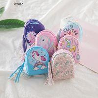 Meninas crianças Unicorn Bolsa PU dos desenhos animados Unicorn Tassel Zipper Wallet crianças Animais Design Mini Key cadeia Bag