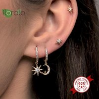 925 Sterling Silver Moon and Star Hoop Earrings CZ Crystal Charms Earrings For Women Girls Lady Fashion Korean Jewelry