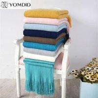 YOMDID Solid Color Одеяло Одеяло Thread Мягкая шаль шарф Большой Полотенце для Осень Зима Путешествия Nap Гостиная Украшение