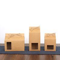 Tea Packaging Cardboard Kraft Paper Bag, Rensa fönsterlåda för kaka Cookie Matlagring Stående upp Papper Förpackning Väska
