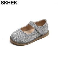 Плоские туфли SKHEK Kids Flats для девочек Малыши Маленькая девочка Детские Детские Детские Блеск Кожа с блестками Принцесса Свадьба1