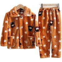 مراهقون الأطفال الصوف منامة الشتاء رشاقته الدافئة الفانيلا ملابس بنات بنين التلبيب المرجان الصوف الطفل Pijamas الكبير للأطفال Homewear